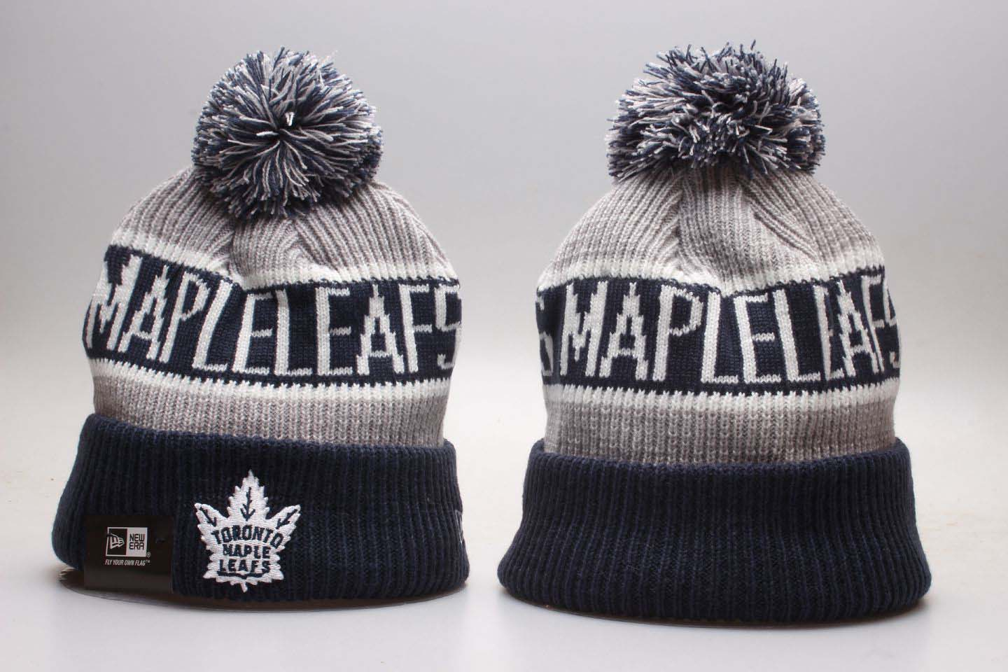 Maple Leafs Team Pride Blue Knit Hat With Pom YP