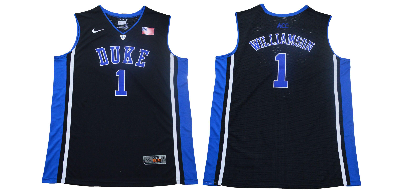 Duke Blue Devils 1 Zion Williamson Black Nike College Basketball Jersey
