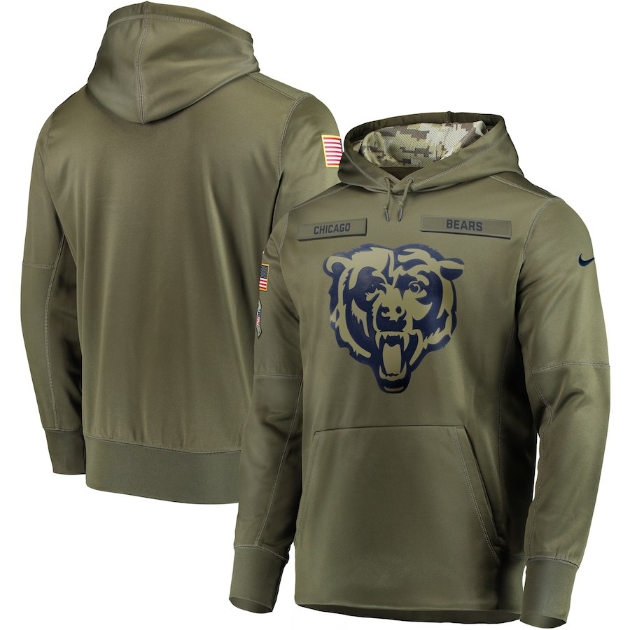 Nike Bears Olive Salute To Service Men's Pullove Hoodie