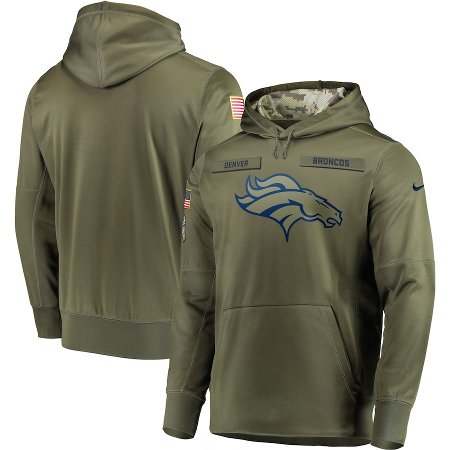 Nike Broncos Olive Salute To Service Men's Pullove Hoodie