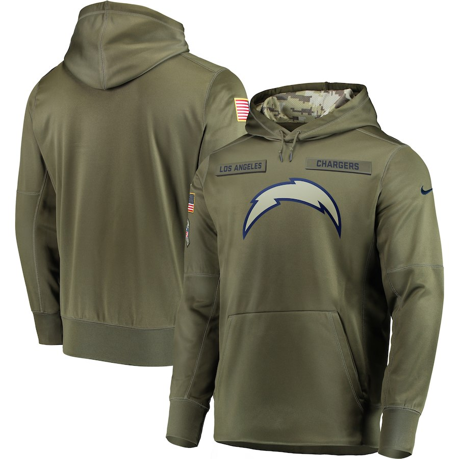 Nike Chargers Olive Salute To Service Men's Pullove Hoodie