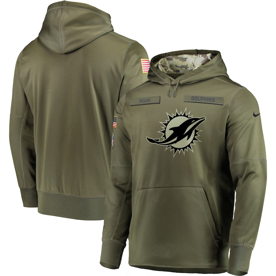 Nike Dolphins Olive Salute To Service Men's Pullove Hoodie