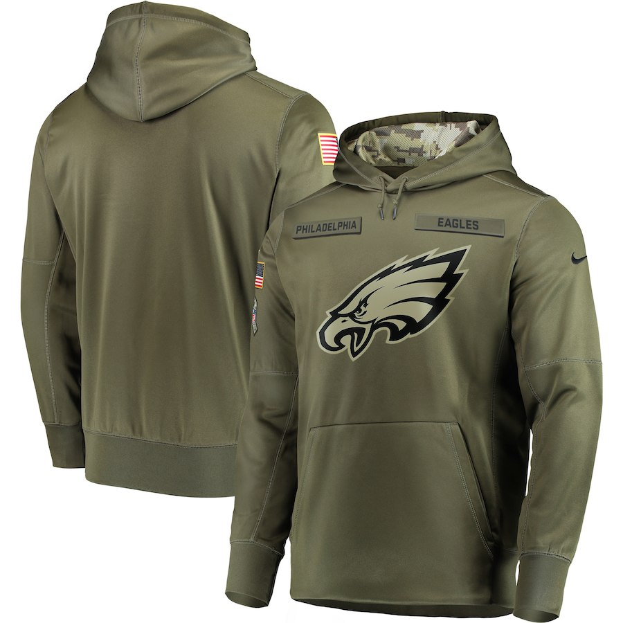 Nike Eagles Olive Salute To Service Men's Pullove Hoodie
