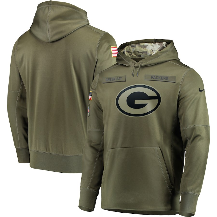 Nike Packers Olive Salute To Service Men's Pullove Hoodie