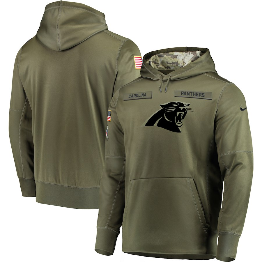 Nike Panthers Olive Salute To Service Men's Pullove Hoodie