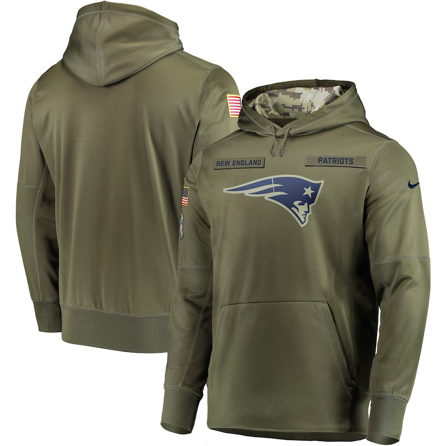Nike Patriots Olive Salute To Service Men's Pullove Hoodie