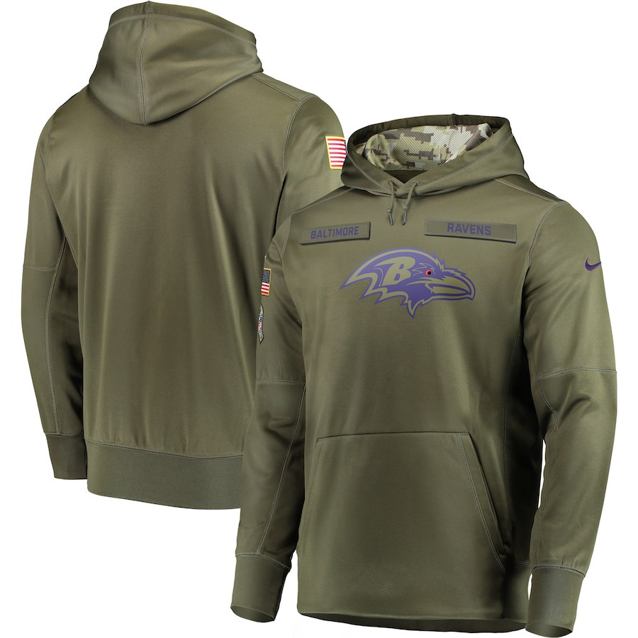 Nike Ravens Olive Salute To Service Men's Pullove Hoodie