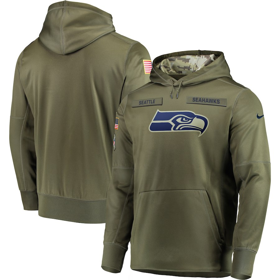 Nike Seahawks Olive Salute To Service Men's Pullove Hoodie