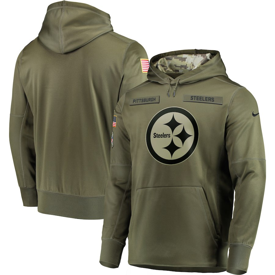 Nike Steelers Olive Salute To Service Men's Pullove Hoodie
