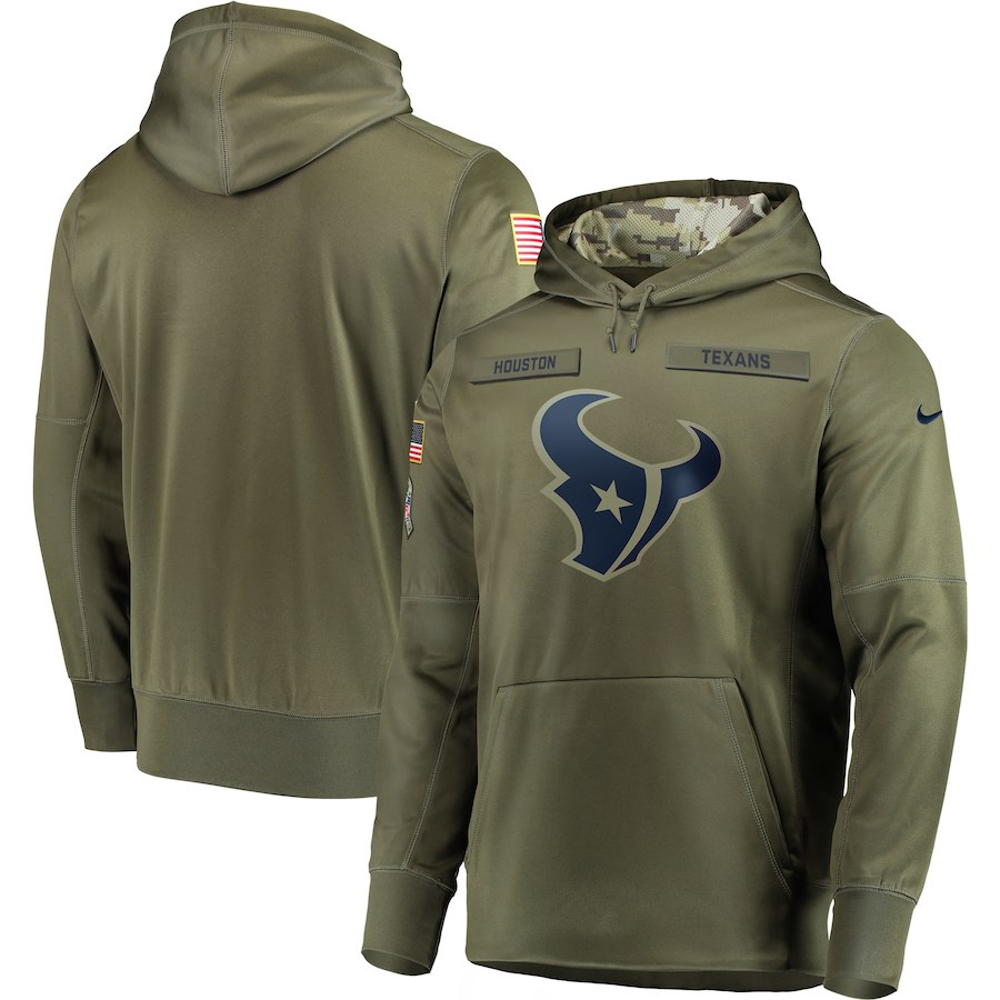 Nike Texans Olive Salute To Service Men's Pullove Hoodie