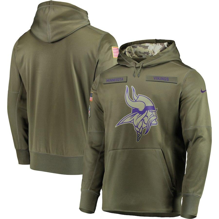 Nike Vikings Olive Salute To Service Men's Pullove Hoodie