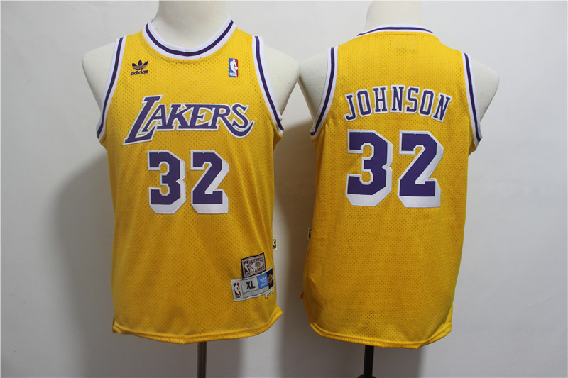 Lakers 32 Magic Johnson Gold Youth Hardwood Classics Jersey