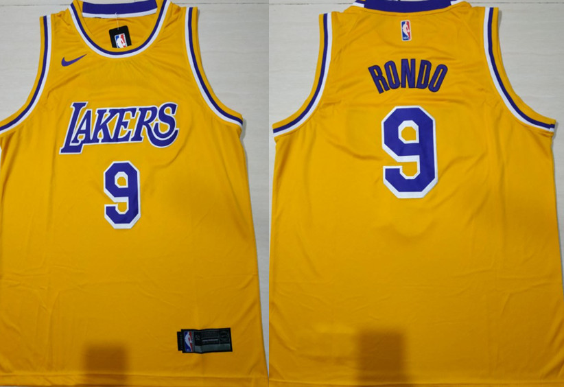 Lakers 9 Rajon Rondo Gold 2018-19 Nike Swingman Jersey