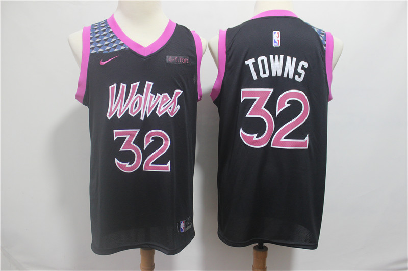 Timberwolves 32 Karl-Anthony Towns Black 2018-19 City Edition Nike Swingman Jersey