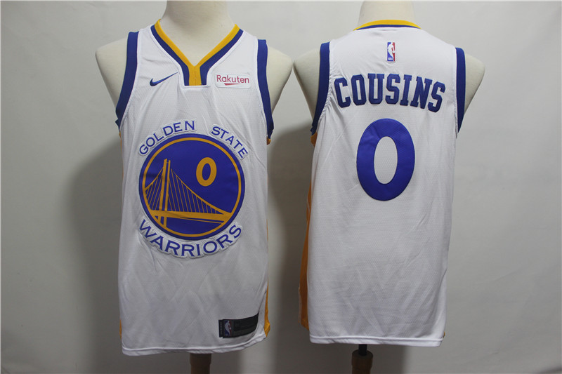 Warriors 0 DeMarcus Cousins White Nike Swingman Jersey