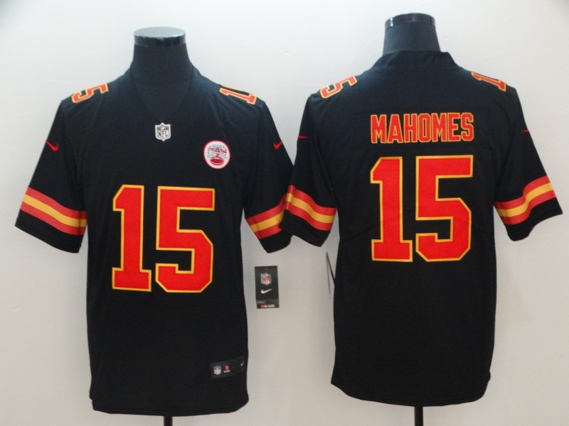 Nike Chiefs 15 Patrick Mahomes Black Youth Vapor Untouchable Limited Jersey
