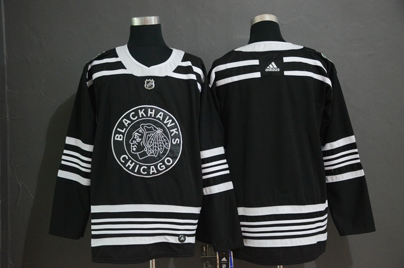 Blackhawks Blank Black 2019 Winter Classic Adidas Jersey