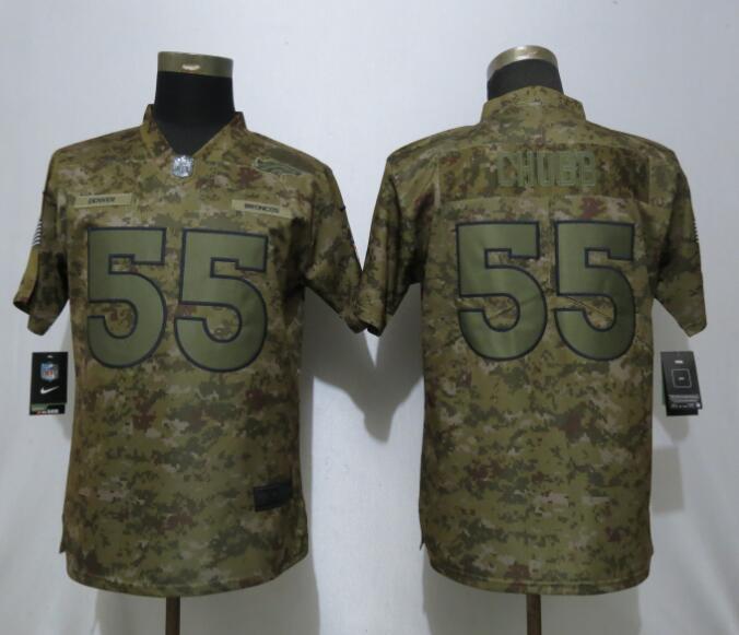 Nike Broncos 55 Bradley Chubb Camo Women Salute To Service Limited Jersey