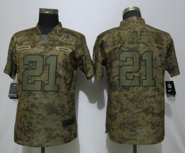 Nike Redskins 21 Sean Taylor Camo Women Salute To Service Limited Jersey