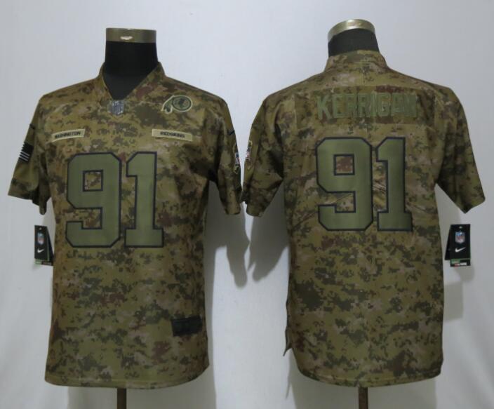 Nike Redskins 91 Ryan Kerrigan Camo Women Salute To Service Limited Jersey
