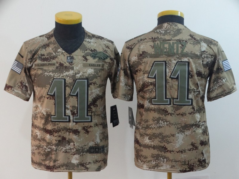 Nike Eagles 11 Carson Wentz Camo Youth Salute To Service Limited Jersey