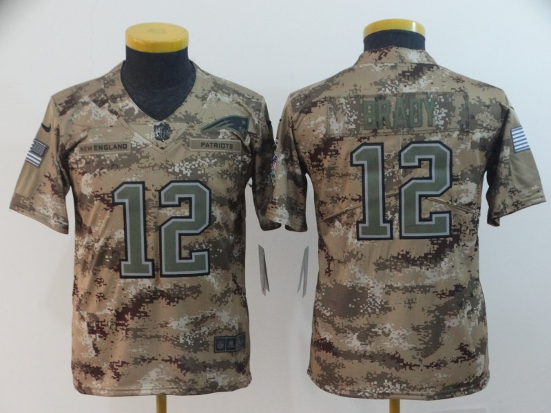 Nike Patriots 12 Tom Brady Camo Youth Salute To Service Limited Jersey