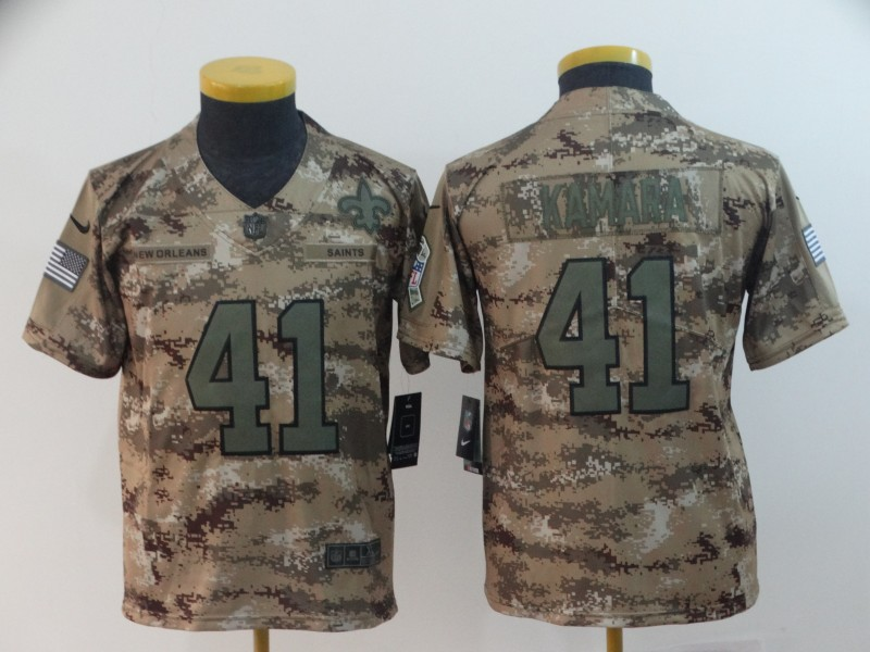 Nike Saints 41 Alvin Kamara Camo Youth Salute To Service Limited Jersey