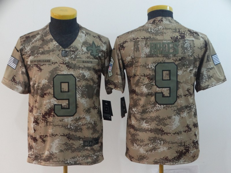 Nike Saints 9 Drew Brees Camo Youth Salute To Service Limited Jersey