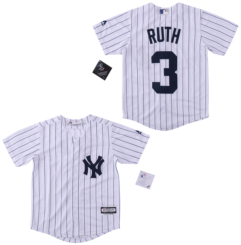 Yankees 3 Babe Ruth White Cool Base Jersey