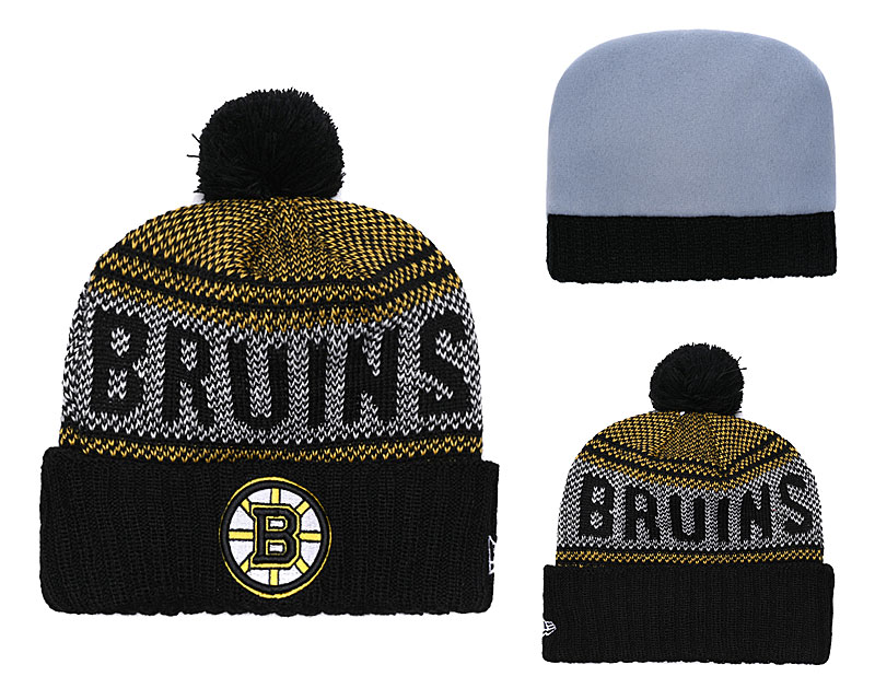 Bruins Fresh Logo Black Pom Knit Hat YD