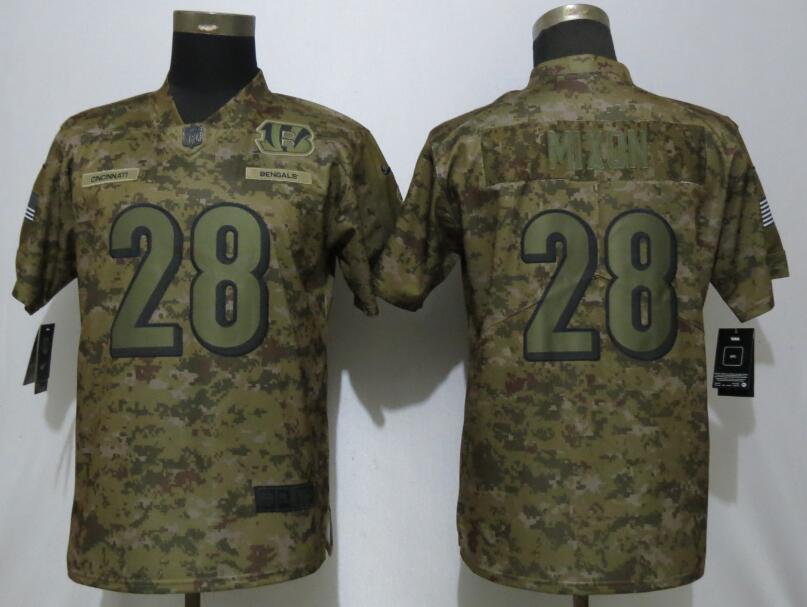 Nike Bengals 28 Joe Mixon Camo Women Salute To Service Limited Jersey