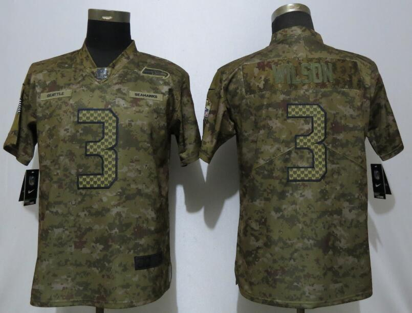 Nike Seahawks 3 Russell Wilson Camo Women Salute To Service Limited Jersey