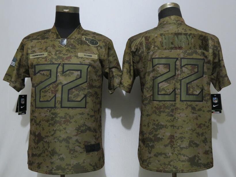 Nike Titans 22 Derrick Henry Camo Women Salute To Service Limited Jersey