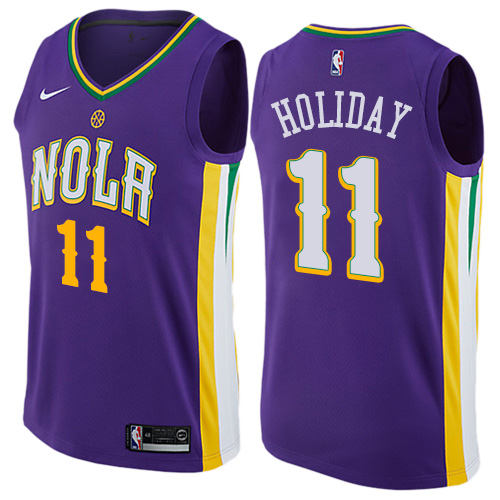 Pelicans 11 Jrue Holiday Purple Mardi Gras Pride Nike Swingman Jersey