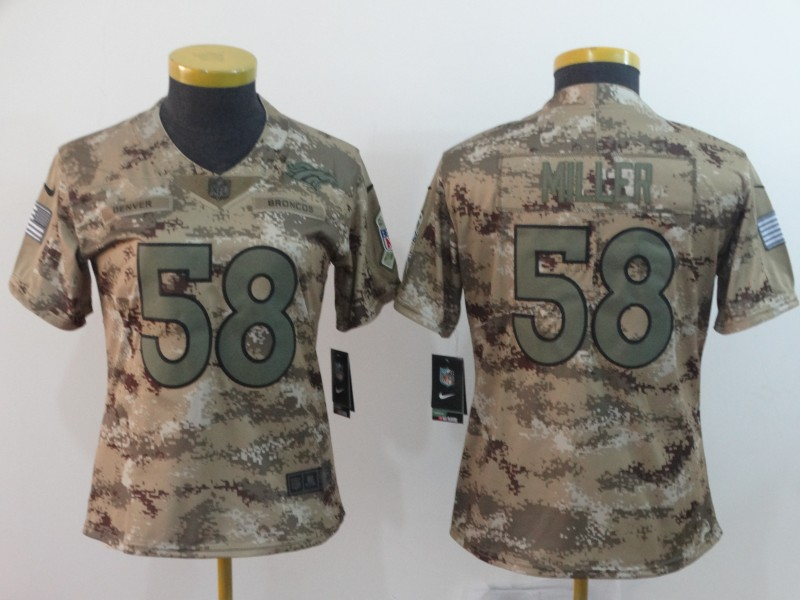 Nike Broncos 58 Von Miller Camo Women Salute To Service Limited Jersey