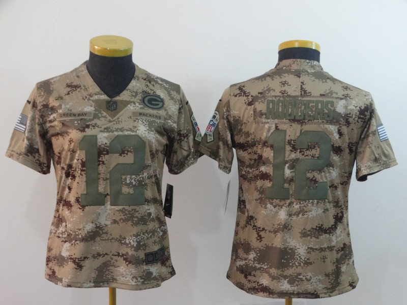 Nike Packers 12 Aaron Rodgers Camo Women Salute To Service Limited Jersey