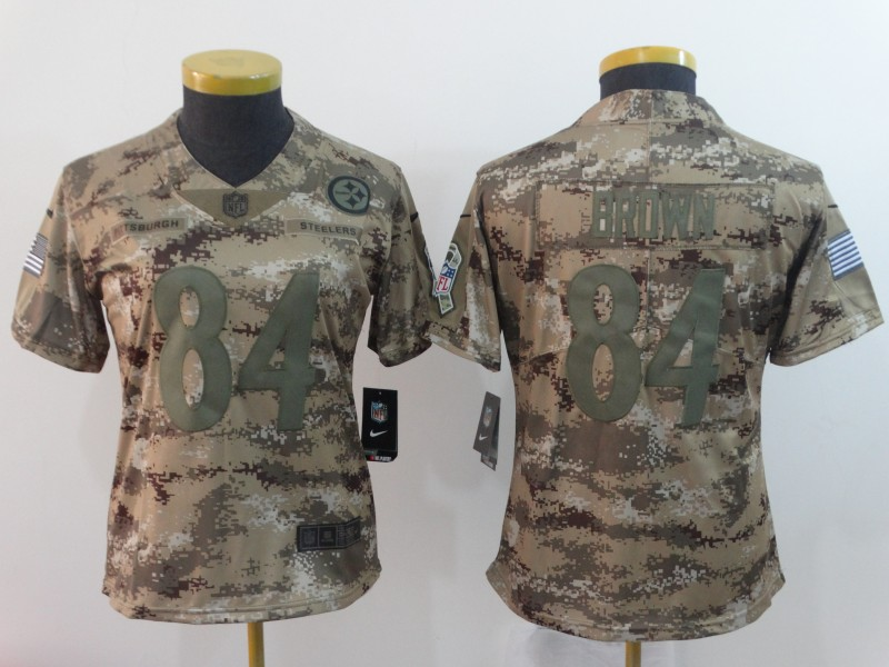Nike Steelers 84 Antonio Brown Camo Women Salute To Service Limited Jersey