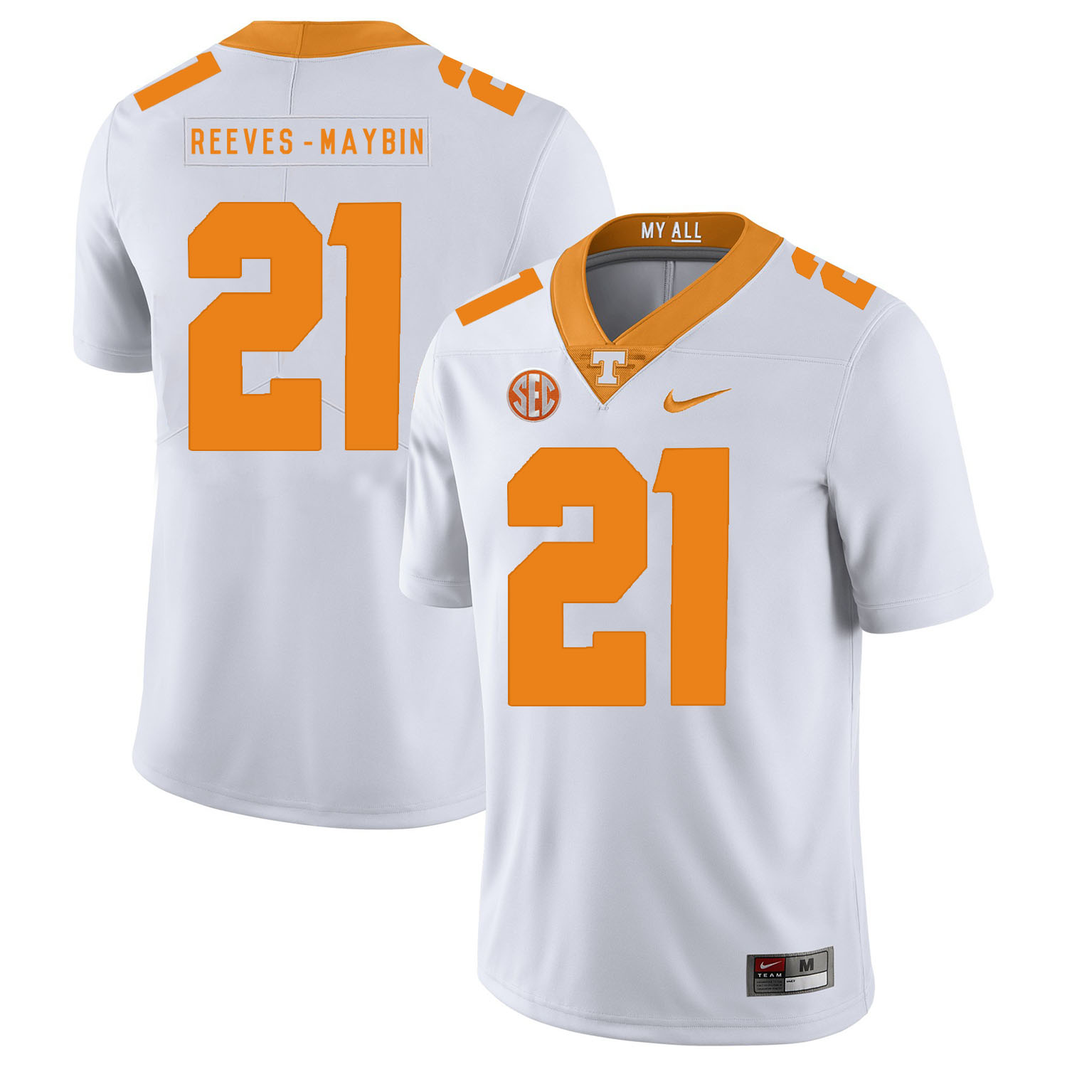 Tennessee Volunteers 21 Jalen Reeves-Maybin White Nike College Football Jersey