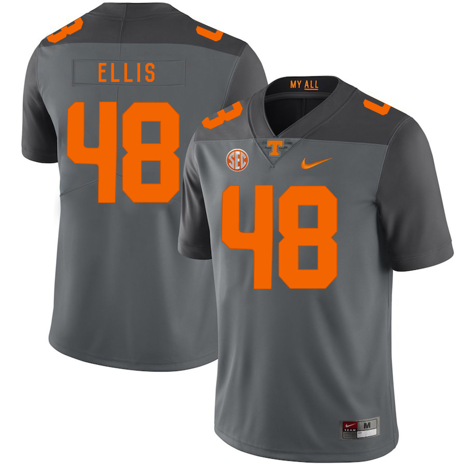 Tennessee Volunteers 48 Alex Ellis Gray Nike College Football Jersey