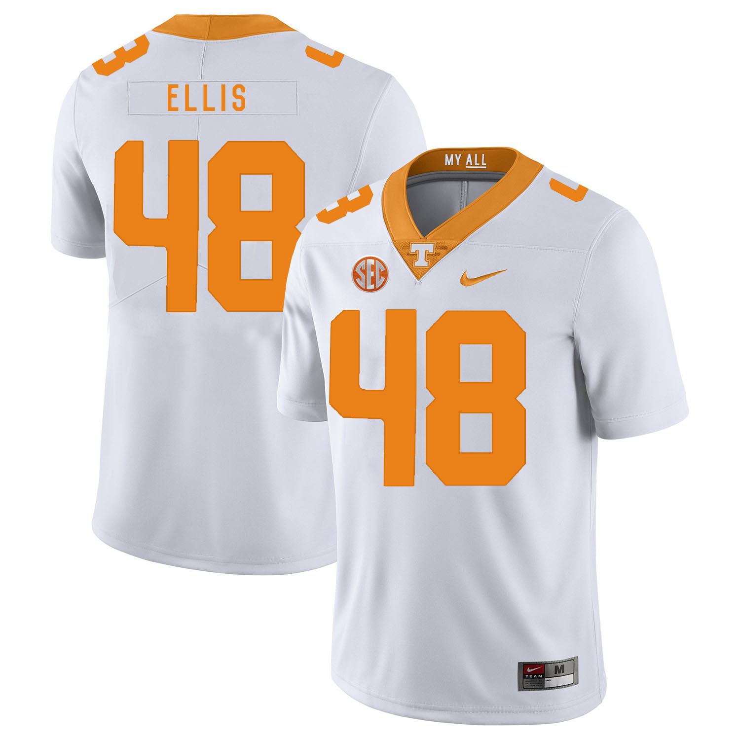 Tennessee Volunteers 48 Alex Ellis White Nike College Football Jersey