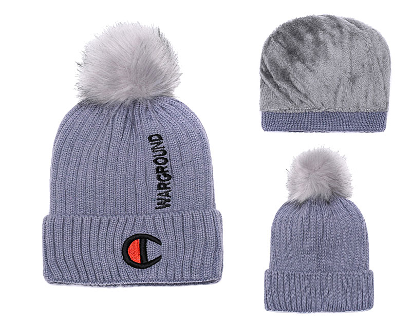 Champion Warground Logo Gray Fashion Sport Knit Hat SG