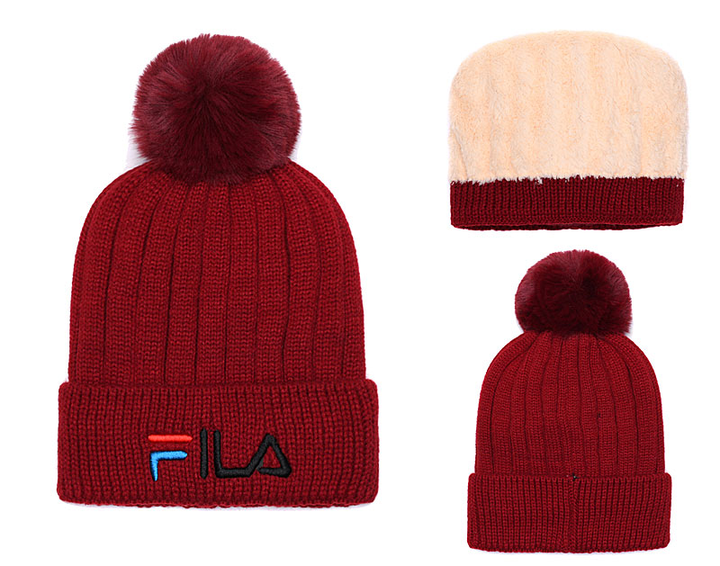 Fila Fresh Logo Burgundy Fashion Sport Knit Hat SG