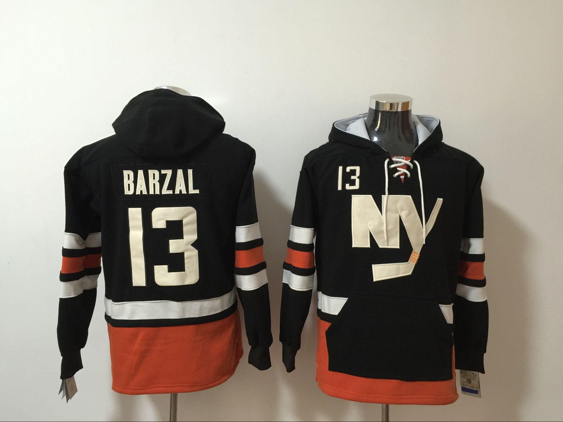 Rangers 13 Mathew Barzal Black All Stitched Hooded Sweatshirt