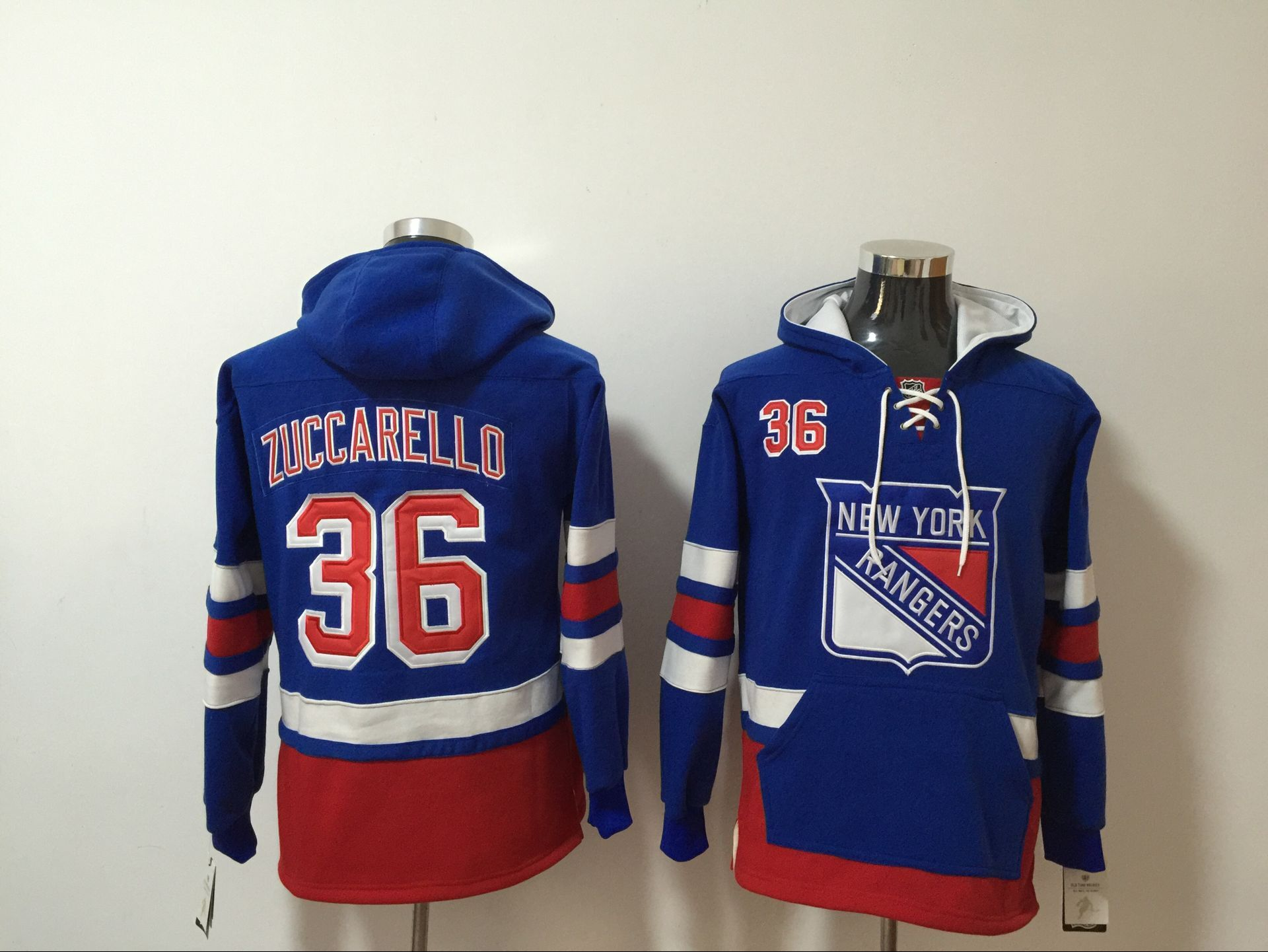 Rangers 36 Mats Zuccarello Royal All Stitched Hooded Sweatshirt