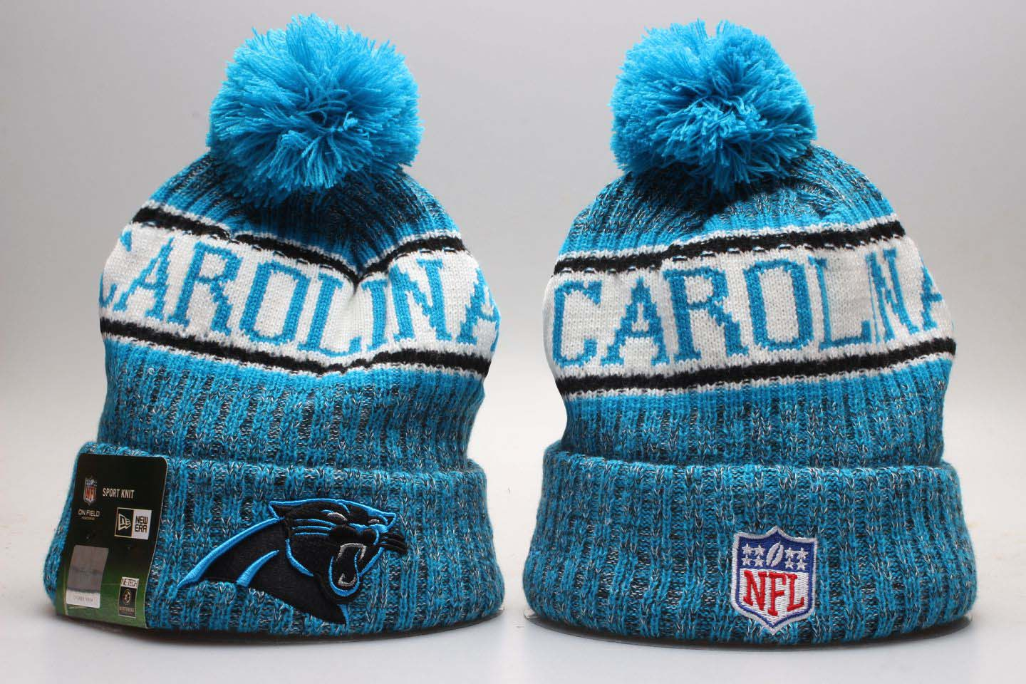 d49c0c5fc7b Panthers Blue Wordmark Cuffed Pom Knit Hat YP