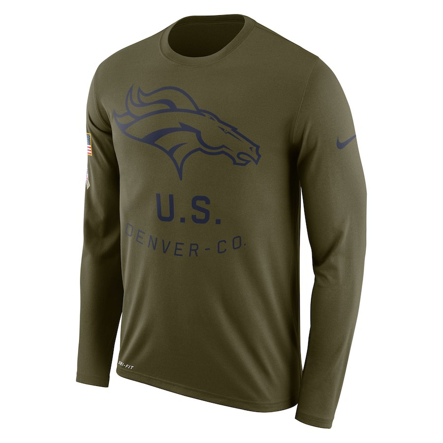 Denver Broncos Nike Salute to Service Sideline Legend Performance Long Sleeve T-Shirt Olive