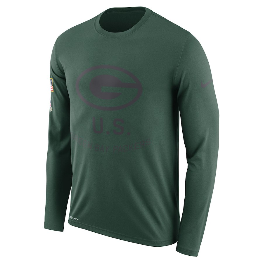 Green Bay Packers Nike Salute to Service Sideline Legend Performance Long Sleeve T-Shirt Green