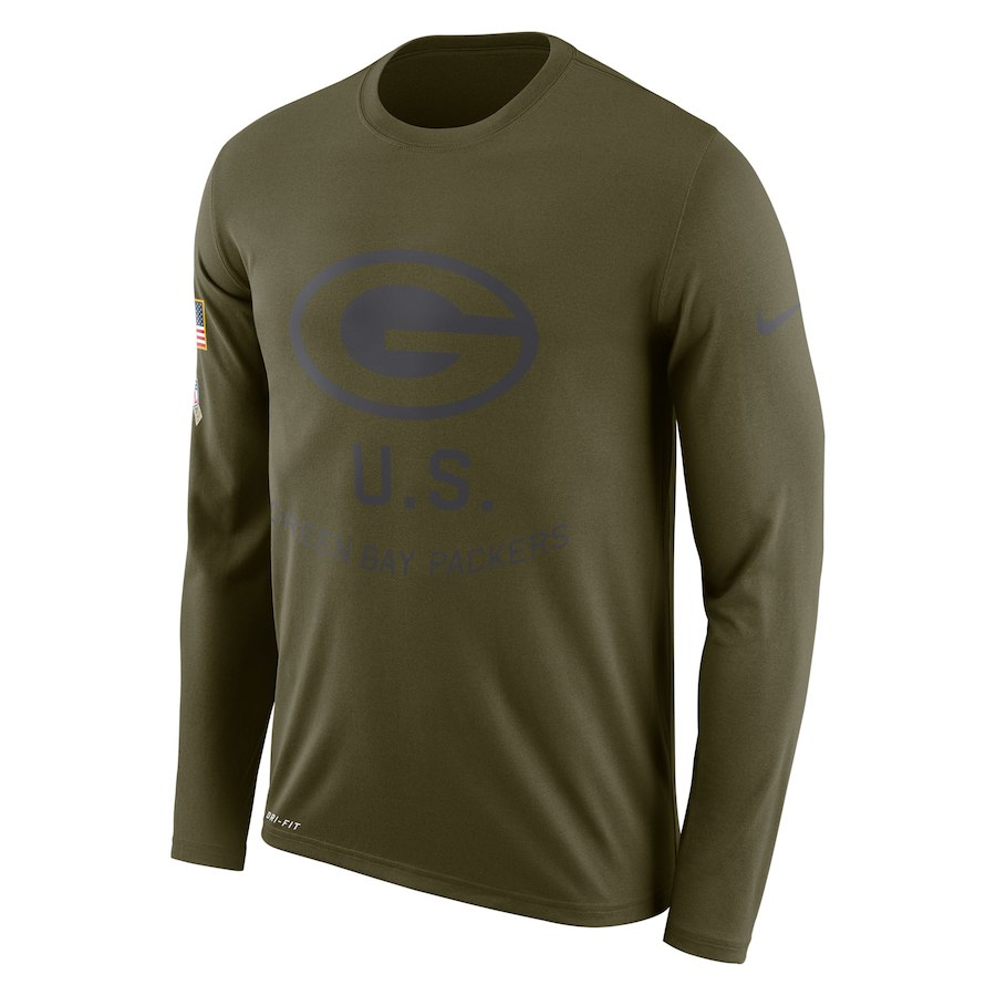 Green Bay Packers Nike Salute to Service Sideline Legend Performance Long Sleeve T-Shirt Olive