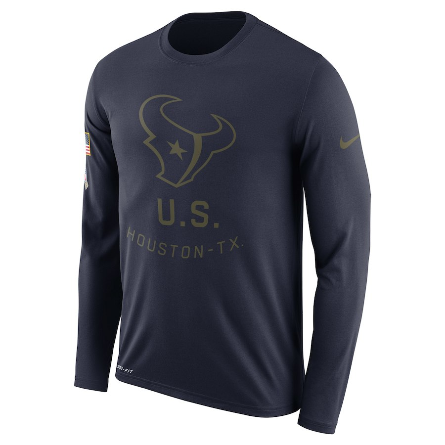 Houston Texans Nike Salute to Service Sideline Legend Performance Long Sleeve T-Shirt Navy