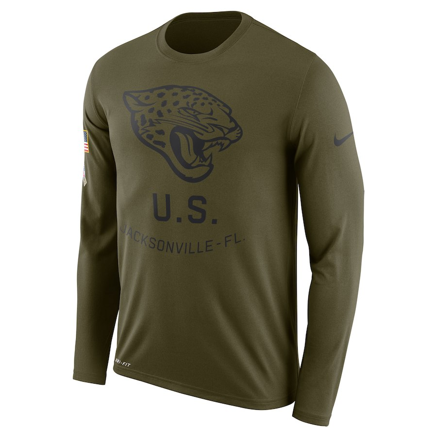 Jacksonville Jaguars Nike Salute to Service Sideline Legend Performance Long Sleeve T-Shirt Olive